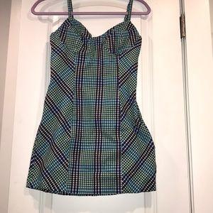 Spaghetti strap mini dress.